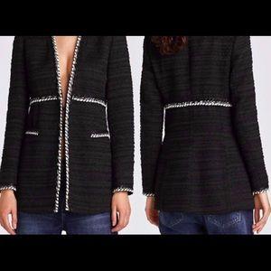 Zara black tweed longline blazer
